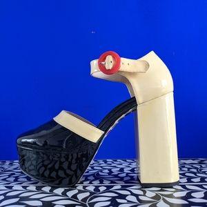 Orla Kiely x Clarks Marianne platform shoes